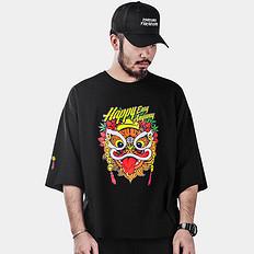 HEA【HOT】原创设计大码潮男醒狮元素加大落肩T恤