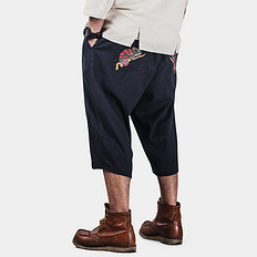 银鳞堂中国风刺绣棉麻短裤