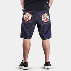 HEA醒狮刺绣原色牛仔短裤