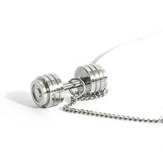 银鳞堂钛钢项链哑铃吊坠