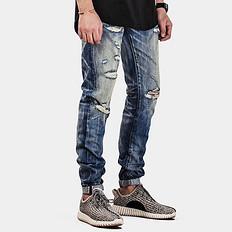 HE75 DENIM复古做旧洗水破洞牛仔裤