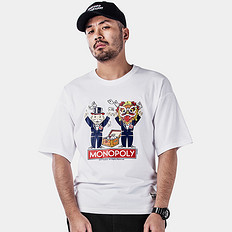 HEA1626大富翁联名合作大码男装潮胖落肩袖短袖T恤