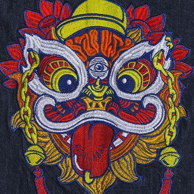 中国风醒狮元素牛仔衫斗篷风衣外套