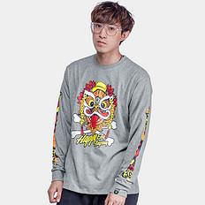 HEA中国风醒狮印花潮男宽松长袖T恤