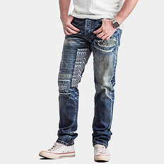 HE75 DENIM洗水破洞赤耳丹宁牛仔裤