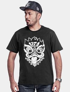 中国风醒狮植绒短袖T恤