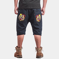 HEA中国风醒狮刺绣休闲裤