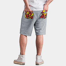 HEA大码男装中国风醒狮印花休闲男短裤