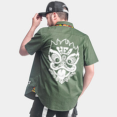 HEA【爆】中国风复古醒狮刺绣印花纯棉短袖衬衫男