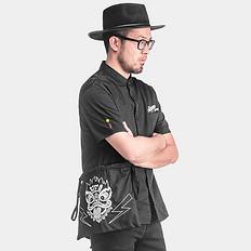 HEA【爆】国潮醒狮刺绣短袖衬衫