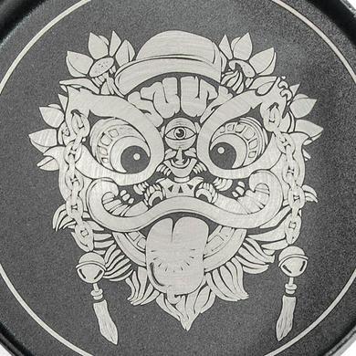 个性潮玩醒狮元素印花不锈钢烟灰缸