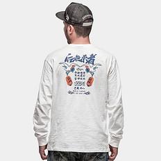 银鳞堂竹节棉印花打底衫长袖T恤