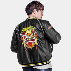 HEA中国风醒狮刺绣保暖外套皮夹克