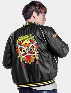 中国风醒狮刺绣保暖外套皮夹克