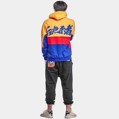 【特惠】中国风撞色宽松套头帽衫刺绣连帽卫衣