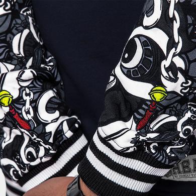 中国风醒狮元素满版印花帽衫外套