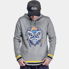 HEA【特惠六折】中国风醒狮印花连帽针织衫保暖毛衣