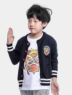 中国风亲子装男童女童毛衣针织外套
