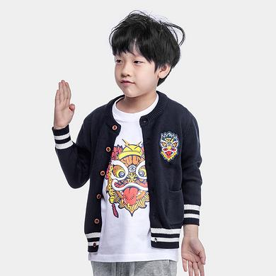 中国风醒狮刺绣亲子装男童女童毛衣针织外套