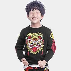 HEA潮牌童装中国风醒狮刺绣男女儿童针织保暖套头毛衣