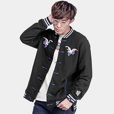 银鳞堂中国风复古大码宽松刺绣夹克外套