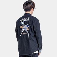 银鳞堂潮牌大码男装中国风刺绣休闲长袖衬衫男