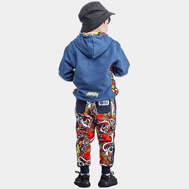 中国风童装醒狮印花亲子装束脚休闲裤