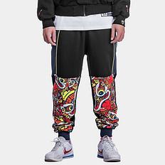 HEA中国风醒狮拼接迷彩撞色束脚休闲裤