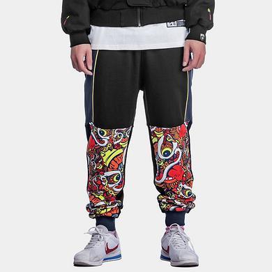 【HOT】中国风醒狮拼接迷彩撞色束脚休闲裤