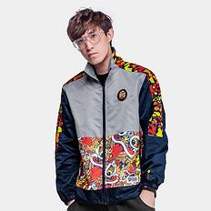 HEA【特惠】中国风大码醒狮迷彩撞色印花风衣外套