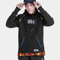 HEA【特惠】中国风醒狮拼接印花连帽套头卫衣