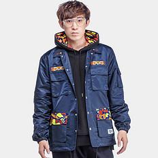 HEA中国风复古设计醒狮元素拼接印花防风外套夹克