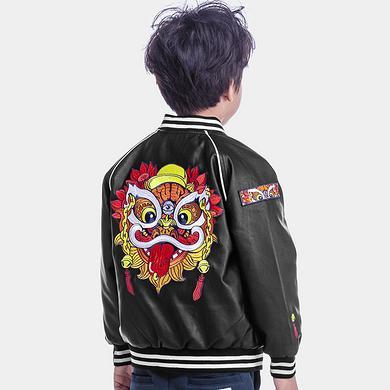 原创潮牌设计醒狮刺绣童装防风皮外套
