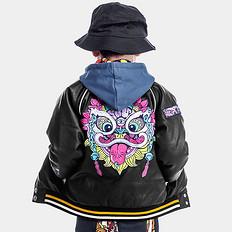 HEA原创潮牌设计醒狮刺绣童装防风皮外套
