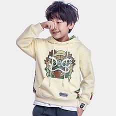 HEA原创设计醒狮印花拼接迷彩童装套头卫衣
