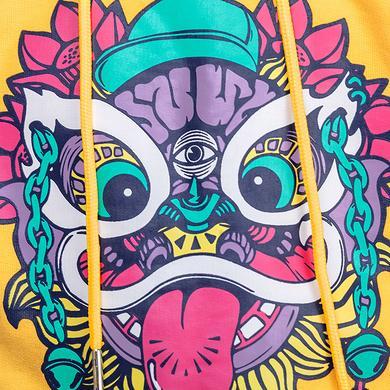 原创设计醒狮印花拼接迷彩童装套头卫衣