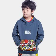 HEA原创拼接醒狮迷彩童装长袖套头卫衣