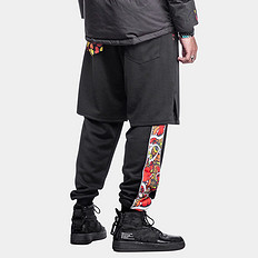 HEA原创风格拼接醒狮迷彩假两件束脚休闲裤