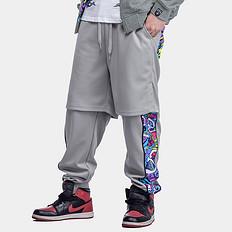 HEA原创风格醒狮拼接迷彩假两件束脚休闲裤