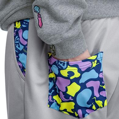原创风格醒狮拼接迷彩假两件束脚休闲裤