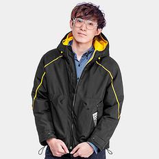 高桥石尚【一口价】原创潮牌设计撞色长袖拉链连帽棉外套