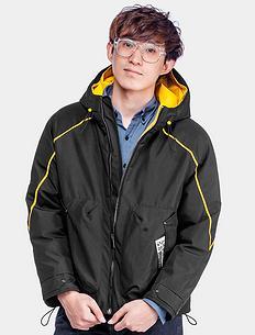 原创潮牌设计撞色长袖拉链连帽棉外套