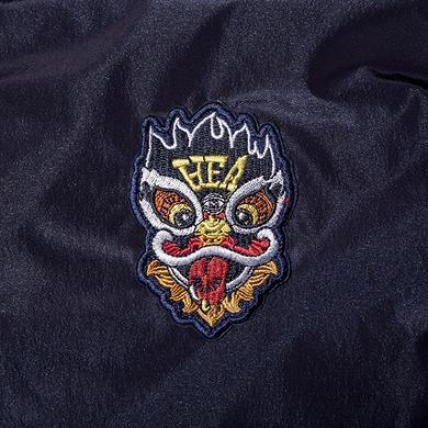 原创潮牌撞色醒狮迷彩拉链立领风衣外套