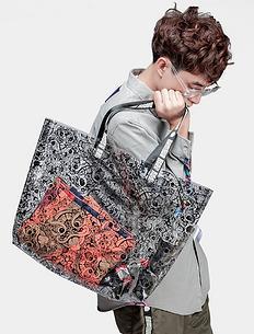 原创潮牌设计醒狮迷彩透明单肩包手提包