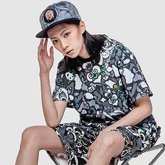 HEA原创设计中国风醒狮元素满版迷彩印花短袖T恤
