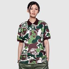 HEA潮牌原创设计醒狮元素满版迷彩大码休闲短袖Polo