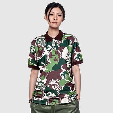 潮牌原创设计醒狮元素满版迷彩大码休闲短袖Polo