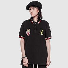 HEA潮牌原创设计中国风醒狮元素休闲短袖Polo