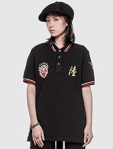 潮牌原创设计中国风醒狮元素休闲短袖Polo