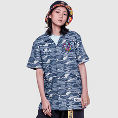 HEA原创设计中国风醒狮元素迷彩短袖衬衫